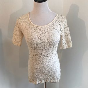 Forever 21 Semi-Sheer Short Sleeve Lace Top